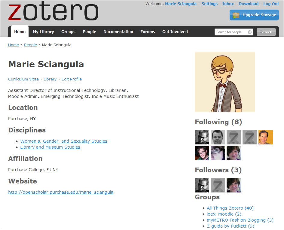 Zotero profile