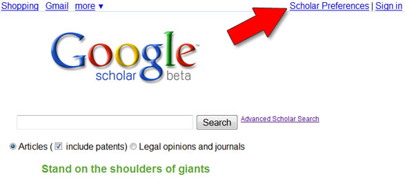 Picture of where to set Google Scholar preferences
