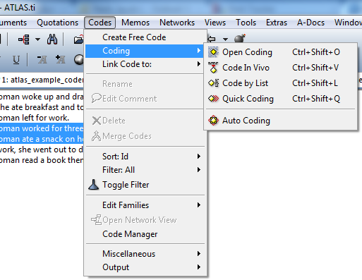 code menu in task bar