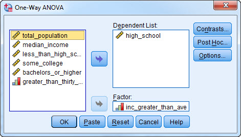 Screen-shot of One-Way ANOVA dialog box