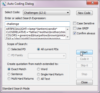 Auto Coding Dialog