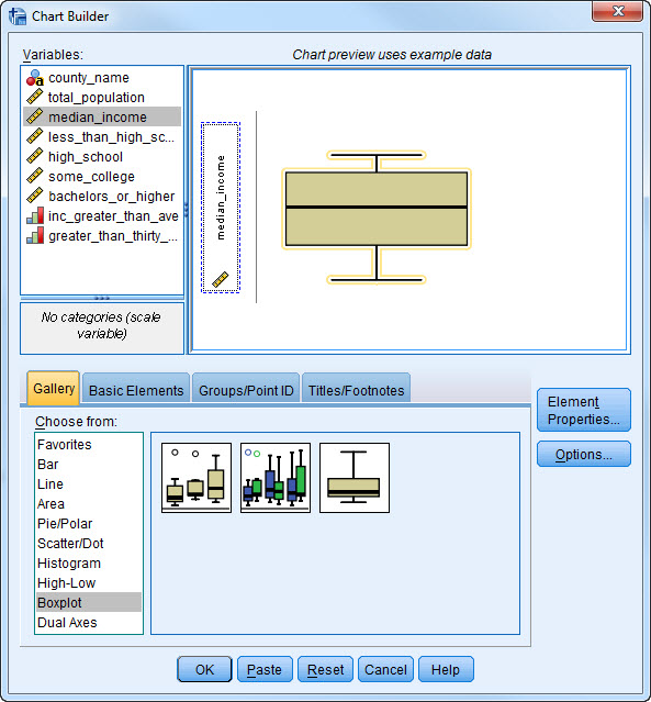 Screen-shot of using Chart Builder to create a box plot
