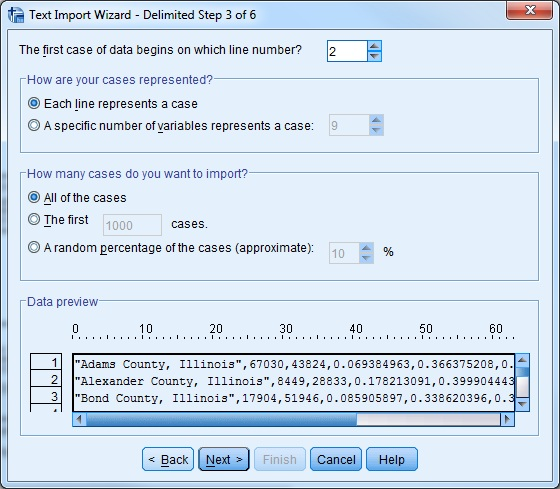 Screen-shot of Text Import Wizard window step 3 of 6
