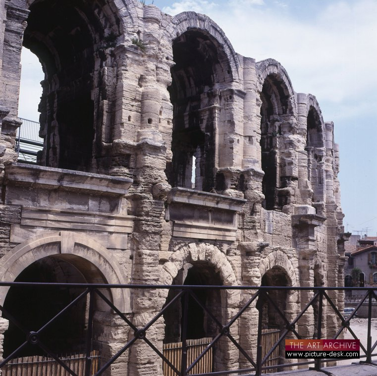 Ruins of ancient theatre in Arles, France