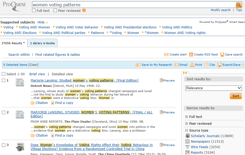 Proquest Thesaurus: Subject Search Example