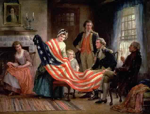 Painting of a woman holding the American flag