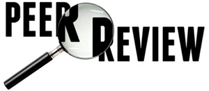 Magnifying glass over peer review text