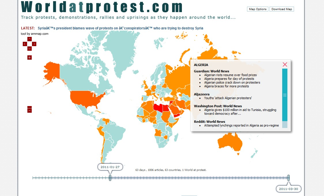 Interactive graphic on global protest