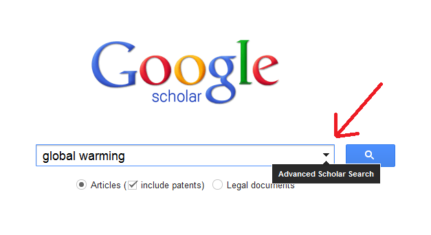 screenshot of google scholar search box