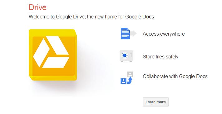 Google Drive home screen
