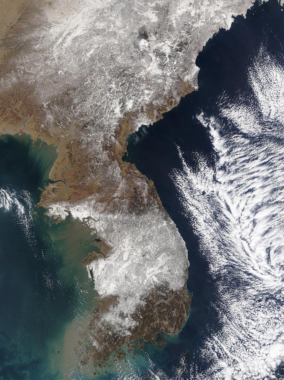 Satellite image of the Korean peninsula.