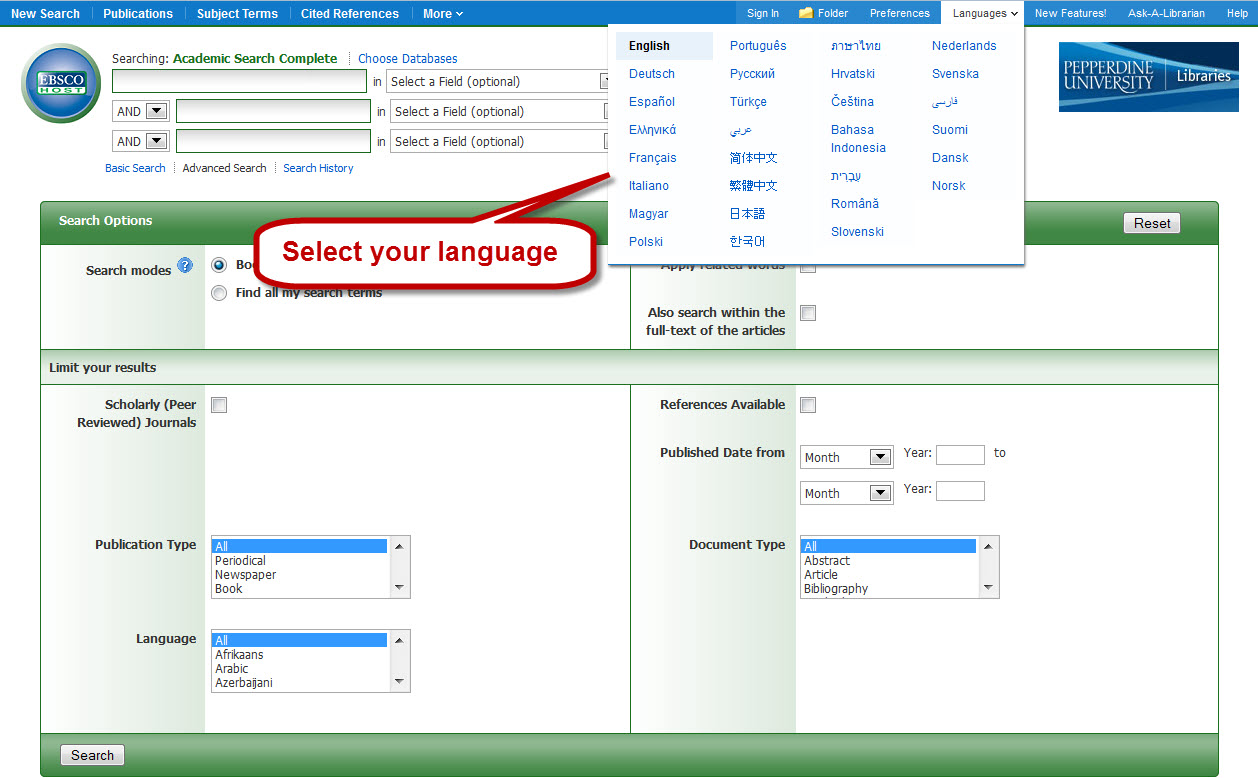 select your language in EBSCO