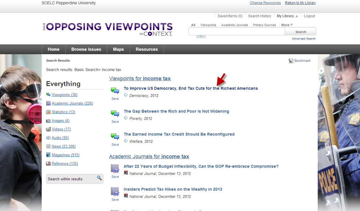 Opposing Viewpoints interface