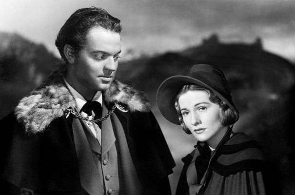 "Orson Welles and Joan Fontaine in a scene from the 1943 film ""Jane Eyre."""