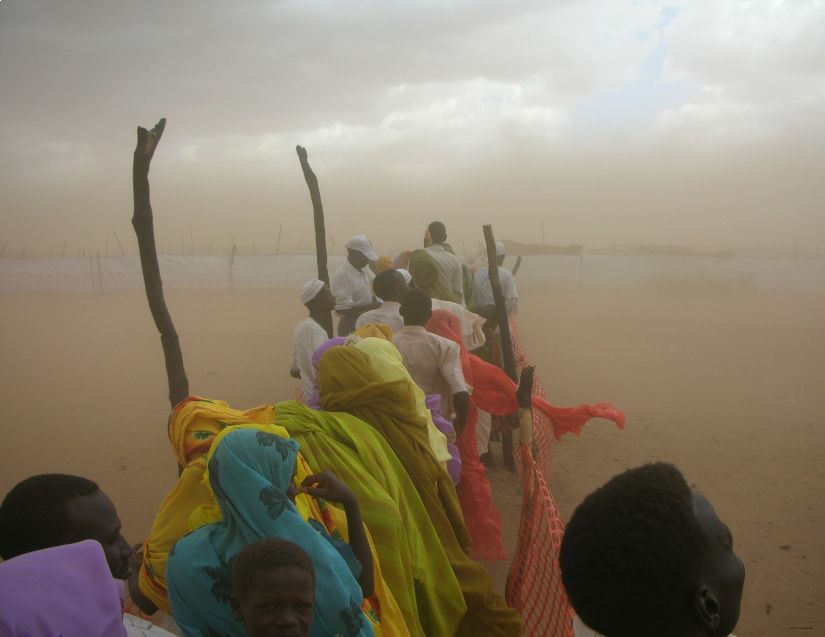 Aid distribution line, Kalma Camp, Darfur, 2007