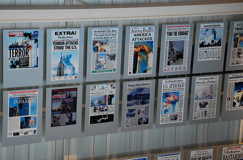 Some of the many newspaper front pages from 9/11.