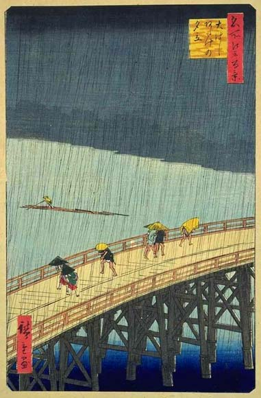 Painting of Great Bridge, Sudden Shower at Atake, Utagawa Hiroshige