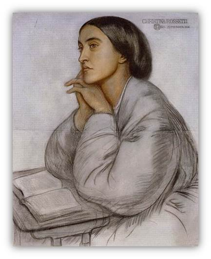 Christina Rossetti with book