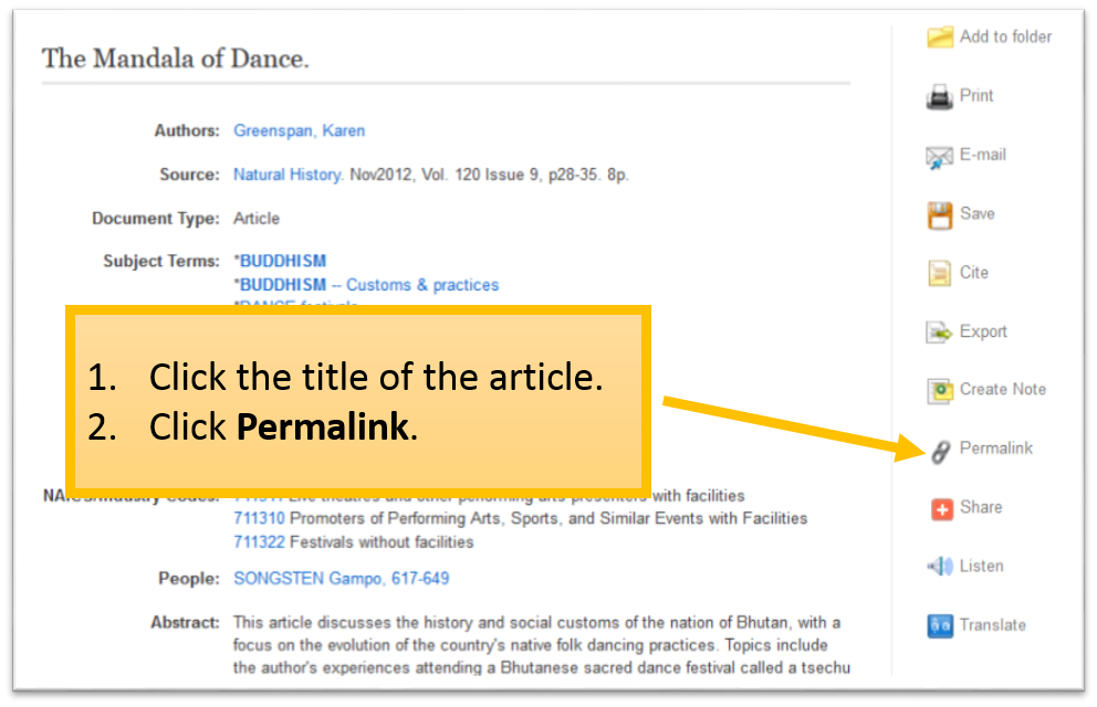 Click Permalink on the right side of the page.