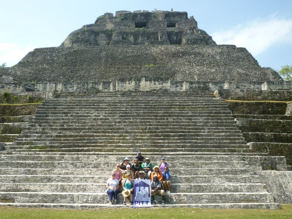 PCC students at Xunantunich; Maya historical site