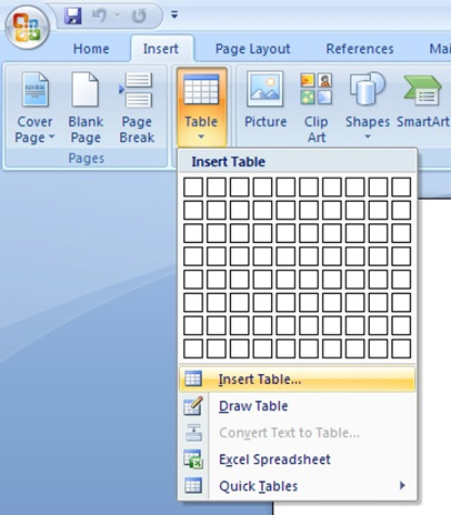 screenshot of how to insert table in Microsoft Word