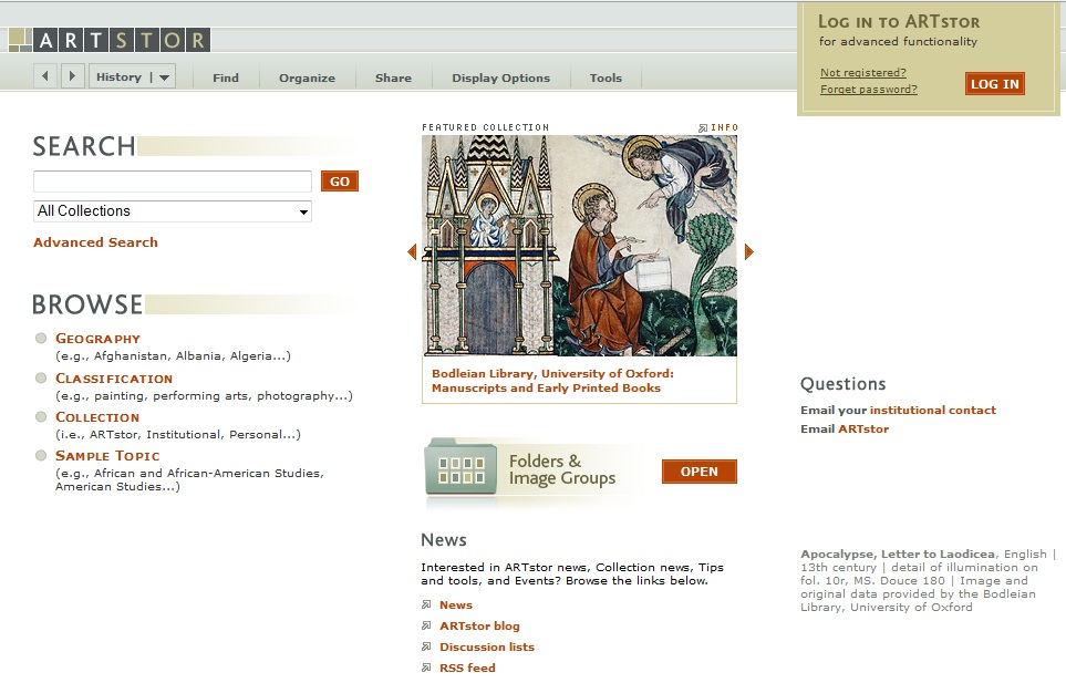 ARTstor home page