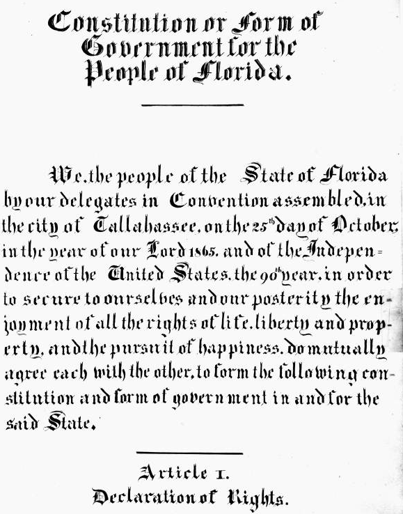 Photo from the State Archives - Constitution or Form of Government for the People of Florida