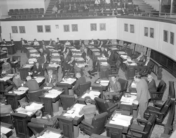 Photo from the State Archives - Commission meeting in the Senate Archives