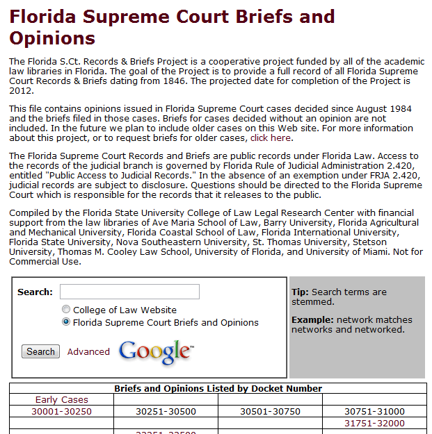 Florida Supreme Court Briefs and Opinions