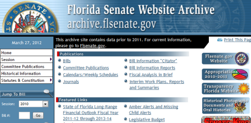Florida Senate Website Archive