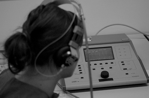 Tympanometry conducted using an audiometer.