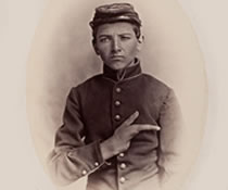 Civil War image of a young boy with only his thumb and index finger.