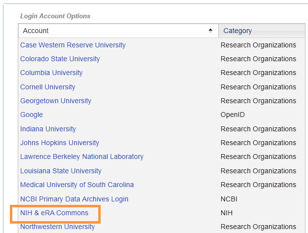 My NCBI Linked Account eRA Commons