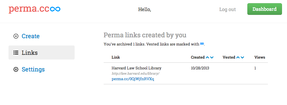 Perma.cc screenshot of Dashboard showing how to review your stored links