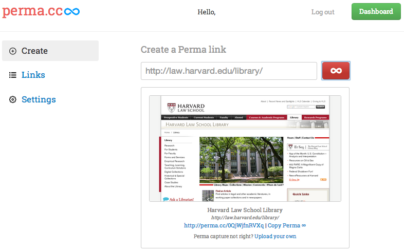 Perma.cc screenshot showing confirmation of newly created Perma.cc URL