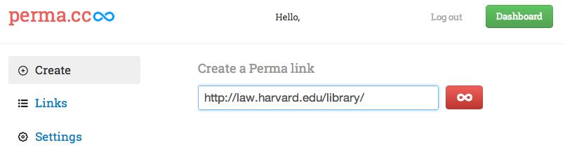 Perma.cc screenshot showing Dashboard