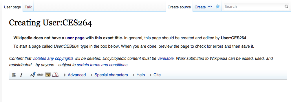 screenshot of how to create a Wikipedia User Page