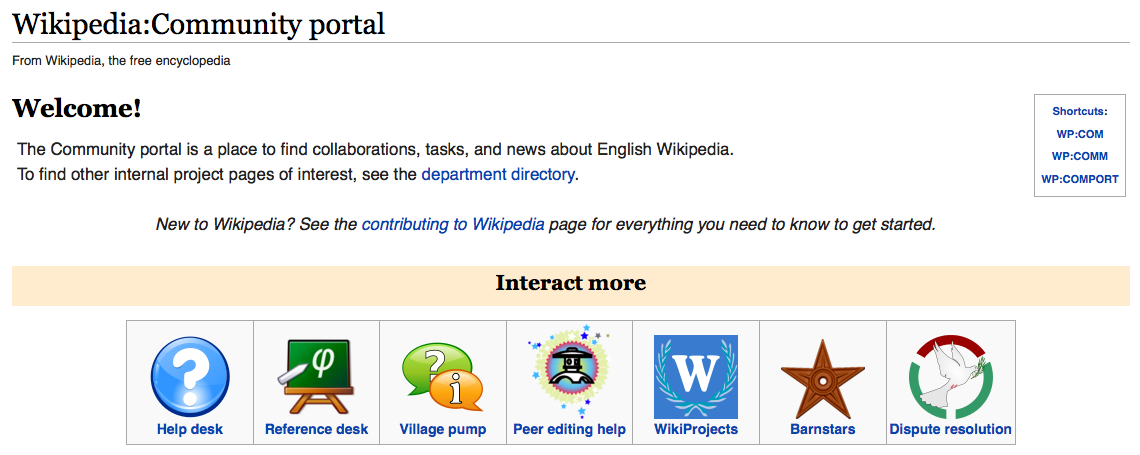 Wikipedia screenshot showing Wikipedia Community Portal.
