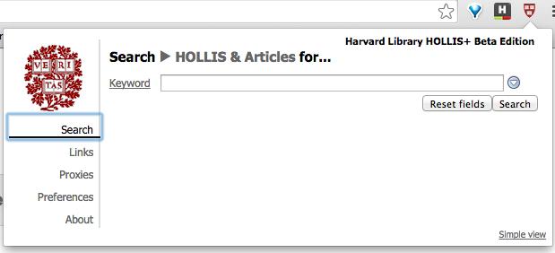 LibX screenshot showing search bar