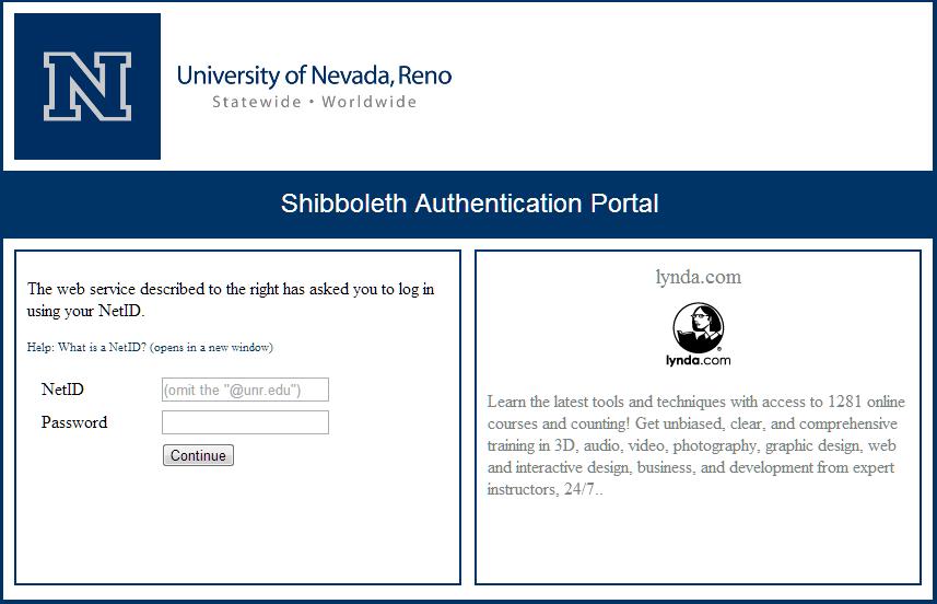 Screenshot of Shibboleth login page