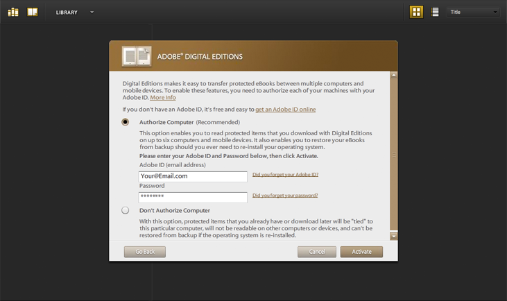 Adobe Digital Editions - Login Screen