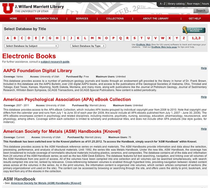 eBook Database List