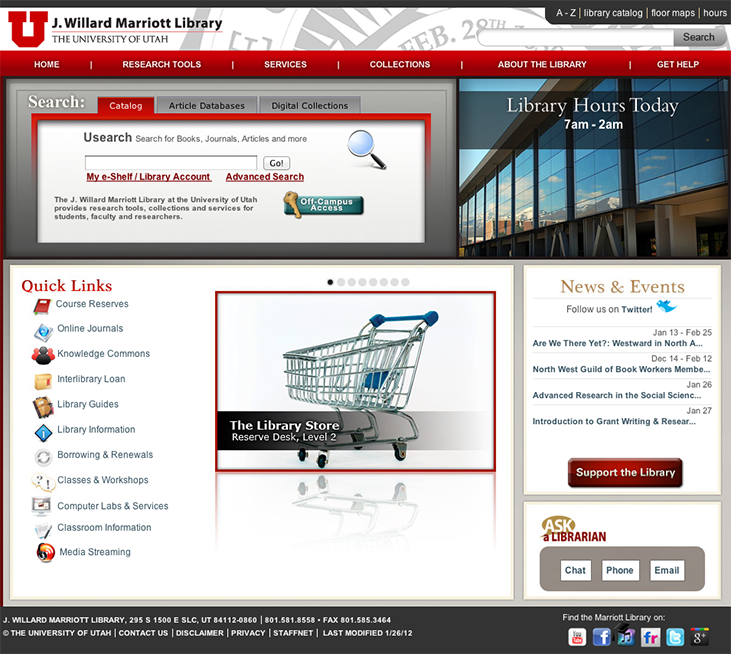 Marriott Library Homepage