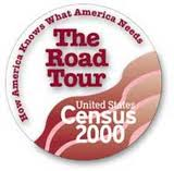 advertising button with The Road Tour of Census 2000