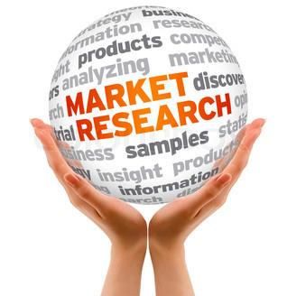 hands holding ball with market research