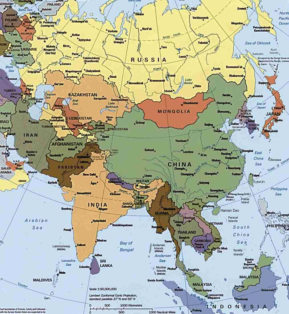 Image of a map of Russia, China, India, and other countries in Southeast Asia