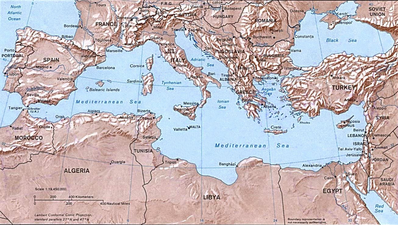 Image of a map of countries bordering the Mediterranean Ocean