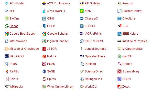 Mendeley Compatible Websites