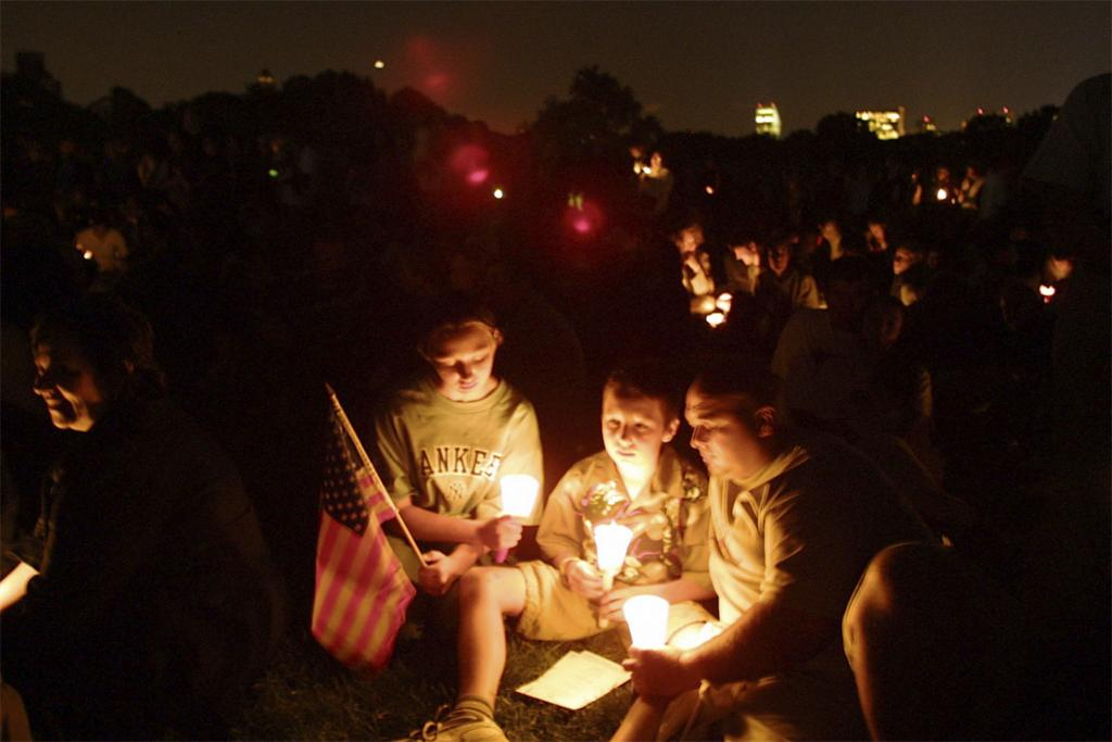 NYC September 11. One Year Anniverary. Candlelight Vigil. Central Park. 2002. Taken from Artstor 9/1/2011