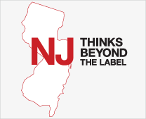 Outline of state of NJ and Think Beyond the Label logo